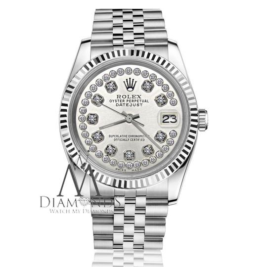 Rolex Women`s 31mm Datejust Silver String Diamond Accent Dial Watch Image 2