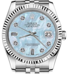 Rolex Women`s 31mm Datejust Baby Blue MOP Mother Of Pearl 8+2 Diamond