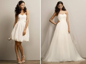 David's Bridal Short Bubble Dress Kp3265 Wedding Dress