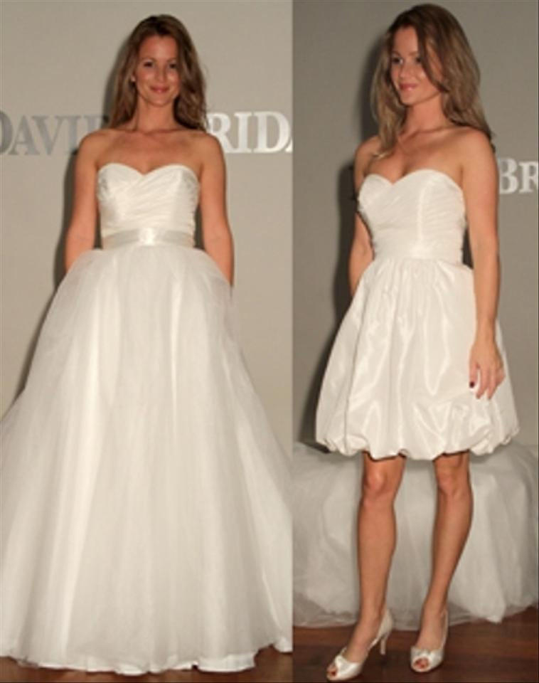 David 39 s bridal white polyester taffeta style bubble Wedding dress xs