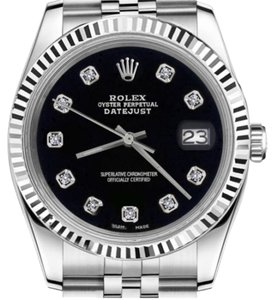 Rolex Men's 36mm Datejust Black Color Dial with Diamond Accent Watch