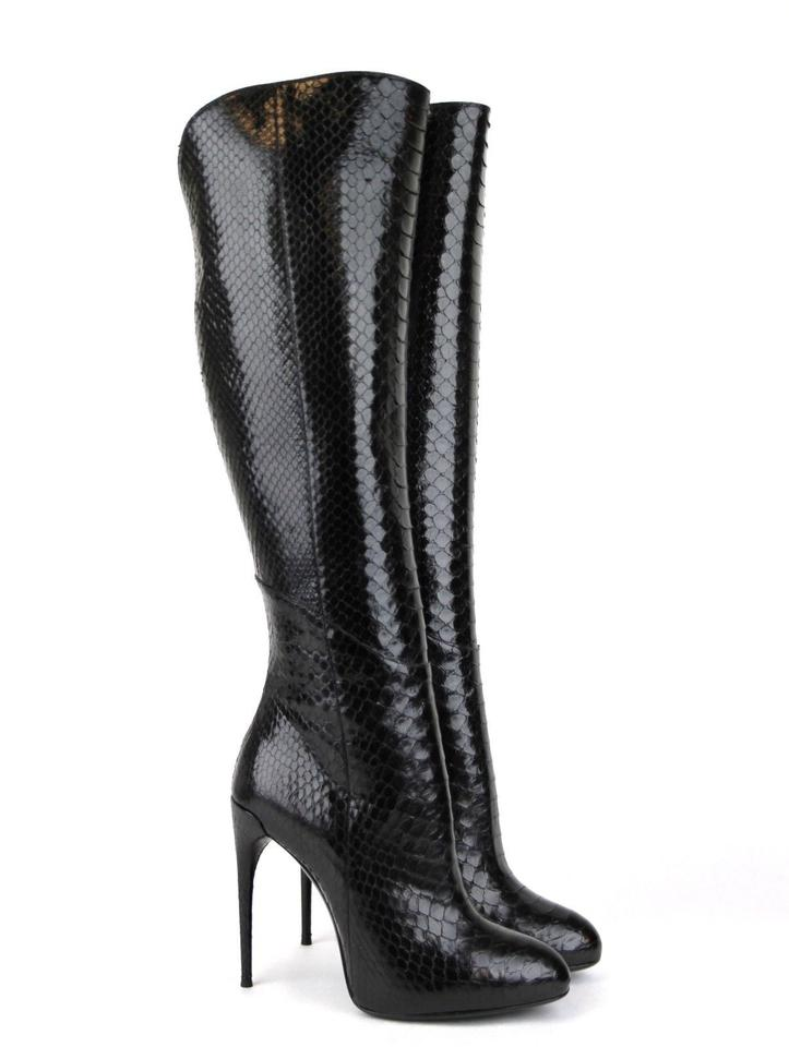 bfd2a8939c91 Gucci Black Kim Python Knee   8 334138 Boots Booties. Size  EU 38 (Approx.