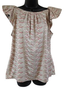 Banana Republic Top Taupe, red, white