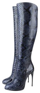 Gucci Kim Python Knee Boot Blue 4231 Boots