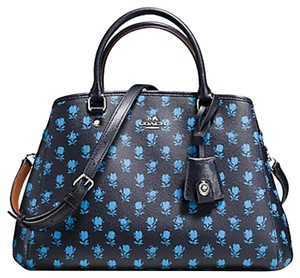 Coach Structured Strap Flowers Blue Tote in Black