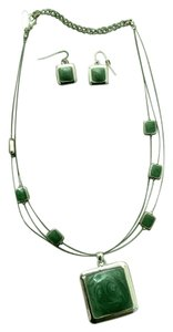 New York & Company Green Necklace and Earring Set