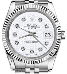 Rolex Men's 36mm Datejust White Color Jubilee Dial with Diamonds Watch