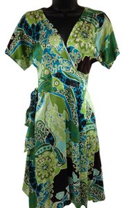 Banana Republic short dress Green, brown, turquoise Wrap Floral on Tradesy
