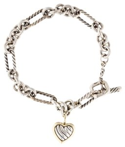 David Yurman Sterling Silver David Yurman Figaro Link Bracelet Cable Heart Charm