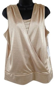 Chico's Surplice Faux Wrap Top Gold metallic