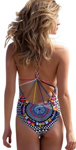 Red Carter Pop Culture Braided Plunge Back SWIMSUIT