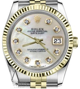 Rolex Women's 31mm Datejust2Tone White MOP Mother Of Pearl Diamond Dial