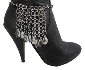 Women Silver Metal Boot Chain Strap Multi Rhinestones Drops Shoe Charm Mediu