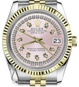 Rolex Women's 26mm Datejust2Tone Pink String Diamond Vintage Style Marke