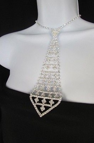 Other Women 7 Silver Metal Rhinestones Neck Tie Fashion Necklace Pendant Squares
