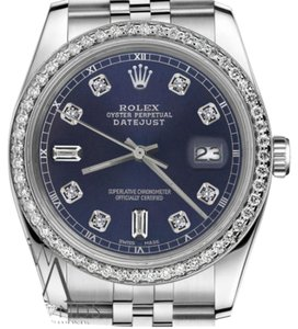 Rolex Ladies 31mm Datejust Navy Blue Color Dial with Diamond Accent Watch