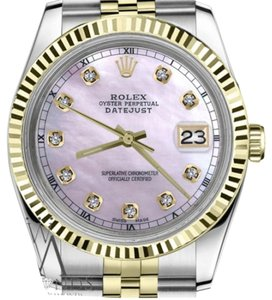 Rolex Men's 36mm Datejust2Tone Pink MOP Dial with Diamond Accent