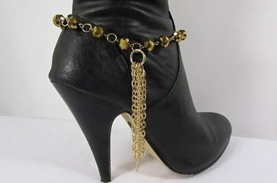 Other Women Gold Metal Boot Chain Long Fringes Single Strap Multi Beads