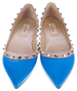 Valentino Pointed Toe Rock Stud Gold Hardware Embellished Studded Blue, Gold Flats