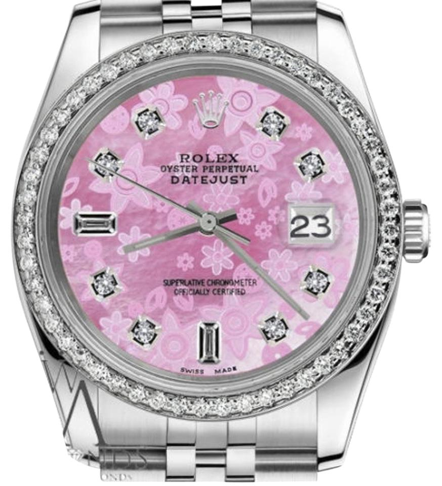 03c27c97d3c Rolex Ladies 31mm Datejust Pink Flower Mother of Pearl Dial Diamond Watch  Image 0 ...