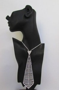 Women 7 Silver Metal Classic Rhinestones Stripes Neck Tie Fashion Necklace