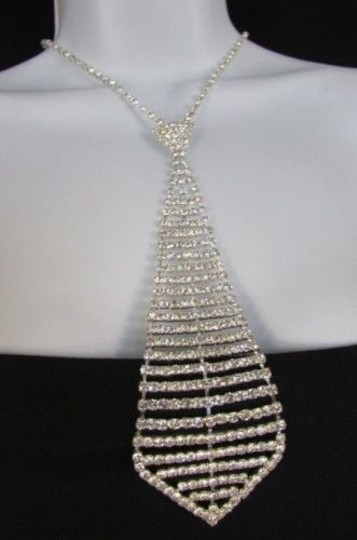 Other Women 7 Silver Metal Classic Rhinestones Stripes Neck Tie Fashion Necklace