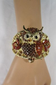 Other Women Gold Metal Cuff Bracelet Big Owl Flowers Red Pink Blue Brown