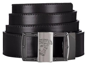 Versace Collection Versace Collection Men's Black Leather Medusa Adjustable Belt 174