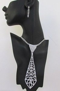 Women 7 Silver Metal Classic Rhinestones Leaves Neck Tie Fashion Necklace