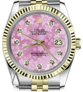 Rolex Women's 26mm Datejust2Tone Pink Flower Mother of Pearl Dial Diamond