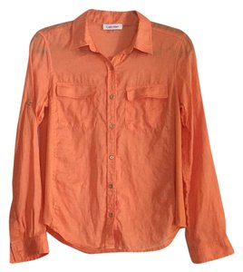 Calvin Klein Button Down Shirt Orange