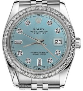 Rolex Ladies 31mm Datejust Ice Blue Color Dial Diamond Accent RT Watch