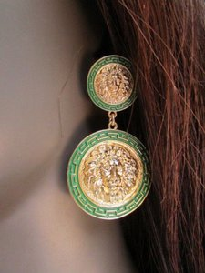 Other Women Fashion Gold Green Metal Earrings Set Big Lion Head Round Ciecles Drop