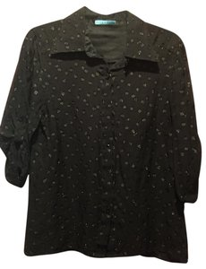 Alice + Olivia Polka Dot Sheer Women Button Up Top Black