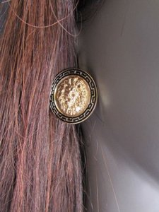 Women Fashion Gold Black Metal Earrings Set Big Lion Head Circle Round