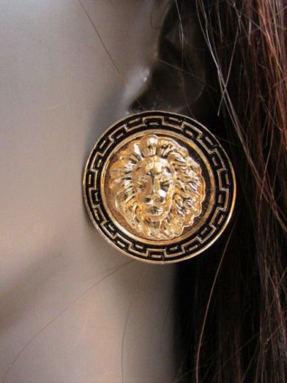 Other Women Fashion Gold Black Metal Earrings Set Big Lion Head Circle Round