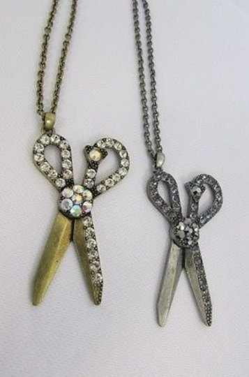 Other Women Necklace Antique Big Scissors Gold Silver Color Hairstyle