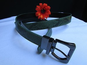 Other Women Thin Green Snake Skin Print Fashion Belt Sides 35-39