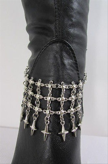 Other Women Silver Metal Boot Chain Strap Multi Crosses Shoe Charm Front Side Back