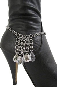 Other Women Silver Metal Boot Chain Strap Multi Rhinestones Drops Shoe Charm Small