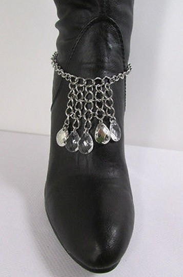 Other Women Silver Boot Chain Strap Rhinestones Drops Shoe Charm Small