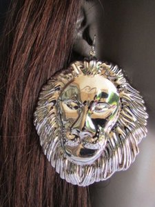 Women Fashion Silver Metal Earrings Set 33 Huge Lion Head Big Ciecle 3 Drop