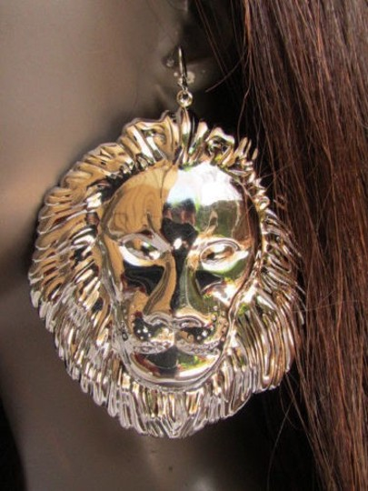 Other Women Fashion Silver Metal Earrings Set 33 Huge Lion Head Big Ciecle 3 Drop