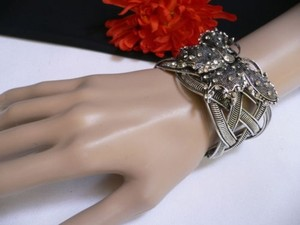Women Dark Silver Metal Cuff Fashion Bracelet Big Butterfly Hot Rhinestones