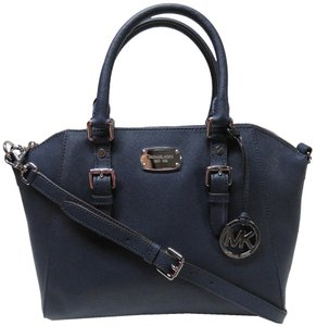 Michael Kors Ciara Leather Satchel in Navy