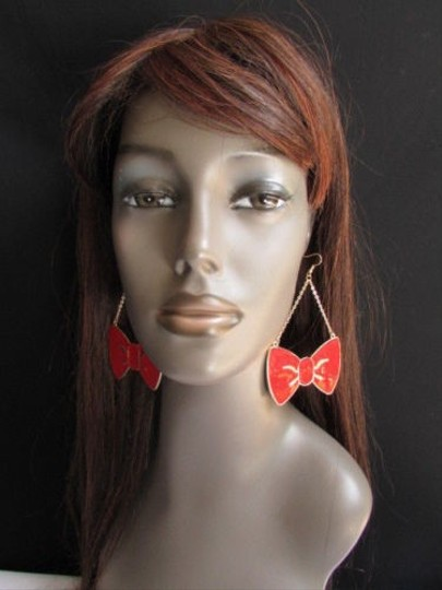 Other Women Fashion Gold Red Metal Earrings Set 1.52.5 Big Dangle Tie Bows 4 Drop