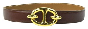Herms HERMES Circle Y Chaine D'Ancre Reversible Belt Brown Leather 65