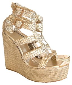 Jimmy Choo Parody Sandal Gold Wedges