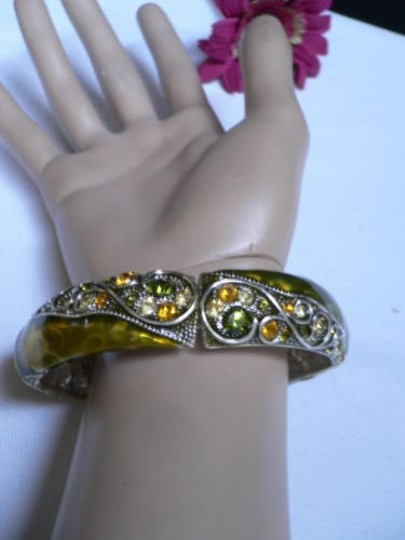 Other Women Elastic Bracelet Old Fashion Metal Olive Green Leave Trendy Rhinestone