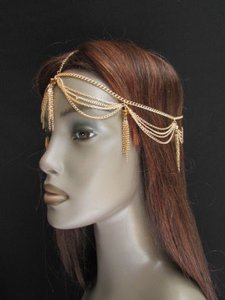 Other Women Gold Metal Fringes Head Chain Fashion Jewelry Big Bronze Multi Beads